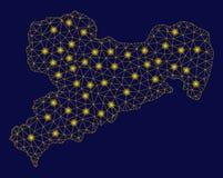 Mapa amarillo de Mesh Wire Frame Saxony Land con los puntos ligeros ilustración del vector