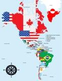 Mapa americano com nomes do país e da cidade Imagens de Stock