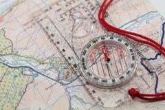 Mapa & compasso Fotografia de Stock