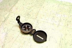 Mapa & compasso da topografia fotografia de stock