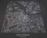 Mapa Amsterdam, satelitarny widok, mapa w negatywie, holandie Fotografia Stock