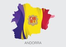 Mapa Andorra Z flaga Jako tekstura Obraz Royalty Free