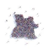 Mapa Angola de la forma del grupo de la gente Fotografía de archivo