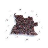 Mapa Angola de la forma del grupo de la gente Stock de ilustración