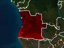 Mapa Angola przy nocą Obrazy Royalty Free