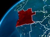 Mapa Angola przy nocą Zdjęcie Royalty Free