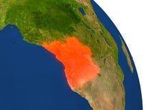 Mapa Angola w czerwieni Obrazy Stock