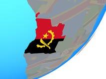 Mapa Angola z flaga na kuli ziemskiej royalty ilustracja