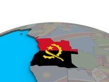 Mapa Angola z flaga na kuli ziemskiej ilustracja wektor