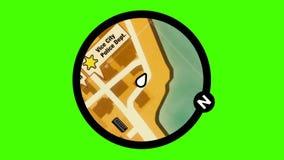 Mapa animado del videojuego en un fondo de pantalla verde stock de ilustración
