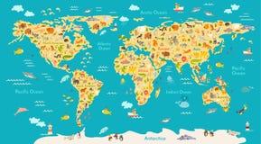 Mapa animal para a criança Cartaz do vetor do mundo para crianças, bonito ilustrado ilustração royalty free