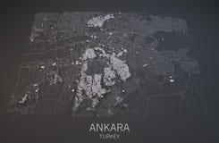 Mapa Ankara, Turcja, satelitarny widok, Zdjęcia Stock