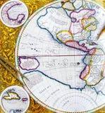 Mapa antigo com divisor e lápis Imagens de Stock