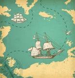 Mapa antigo com navios Imagem de Stock