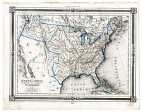 Mapa antigo de Estados Unidos em 1846 Imagens de Stock Royalty Free