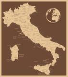 Mapa antigo de Itália ilustração do vetor