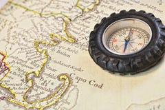 Mapa antigo do bacalhau de cabo com compasso retro Fotos de Stock Royalty Free