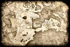 Mapa antigo do grunge Imagens de Stock