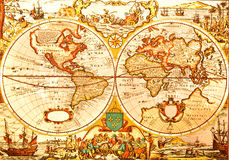 Mapa antigo do mundo fotografia de stock
