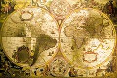 Mapa antigo do mundo imagem de stock
