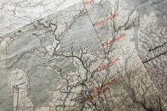 Mapa antigo do russo com etiquetas vermelhas Imagens de Stock Royalty Free