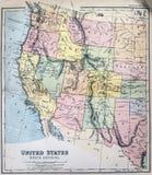 Mapa antigo dos Estados Ocidentais dos EUA Fotografia de Stock