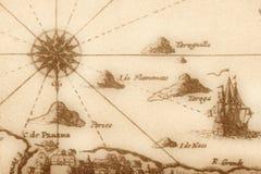 Mapa antigo (fragmento) Fotos de Stock Royalty Free