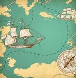 Mapa antiguo con las naves y el compás Fotos de archivo libres de regalías