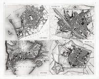 Mapa antiguo 1874 de Florencia, de Módena, de Ancona y de Livorno Foto de archivo
