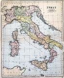 Mapa antiguo de Italia Imagenes de archivo