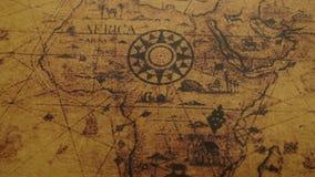Mapa antiguo de los continentes de África almacen de metraje de vídeo