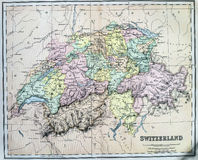 Mapa antiguo de Suiza foto de archivo libre de regalías