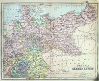 Mapa antiguo del imperio prusiano Imagenes de archivo
