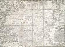 Mapa antiguo del Océano Atlántico Imagenes de archivo