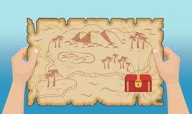 Mapa antiguo del tesoro del pirata con las manos Ilustración del Vector