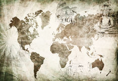 Mapa antiguo del World Travel Imagen de archivo