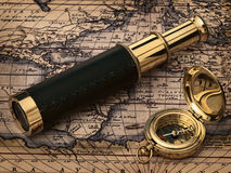 mapa antykwarski zegarowy rocznik Zdjęcie Royalty Free