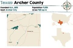 Mapa Archer okręg administracyjny w Teksas Fotografia Stock