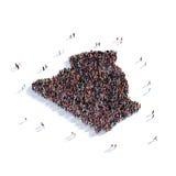 Mapa Argelia de la forma del grupo de la gente Fotos de archivo