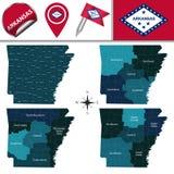 Mapa Arkansas z regionami ilustracja wektor