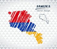 Mapa Armenia z ręka rysującą nakreślenia pióra mapą inside również zwrócić corel ilustracji wektora ilustracja wektor