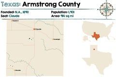 Mapa Armstrong okręg administracyjny w Teksas ilustracji