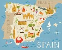 Mapa arriba detallado de España Imágenes de archivo libres de regalías
