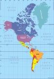 Mapa arriba detallado del norte y de Suramérica Imagen de archivo libre de regalías