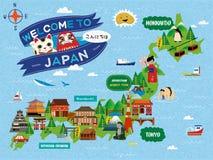 Mapa atrativo do curso de Japão ilustração do vetor