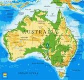 mapa Australia-físico Imagen de archivo libre de regalías