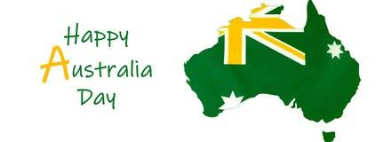 Mapa Australia z australijczyk flagą w nieoficjalnym zieleni i złota sztandarze obraz royalty free