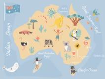 Mapa Australia z punktami zwrotnymi i przyrodą ilustracji