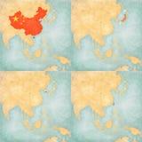 Mapa Azja Wschodnia, Chiny, Japonia, Południowy Korea i Tajwan -, ilustracja wektor