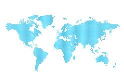Mapa azul claro del mundo - círculos Foto de archivo